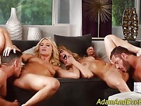 Foursome blondes swap cum